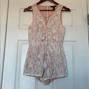 Forever 21 Pink & Lace Romper